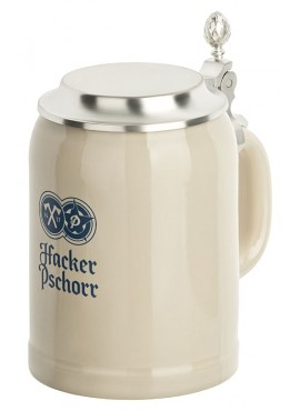 Hacker-Pschorr Stone Mug with tin lid 0,5l
